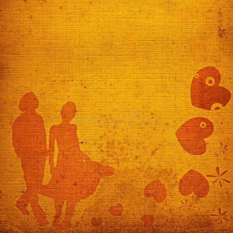 Coppie, disegno del biglietto di S. Valentino illustrazione vettoriale