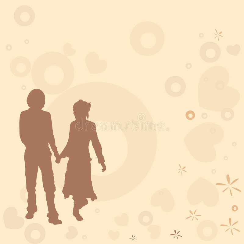 Coppie, disegno del biglietto di S. Valentino royalty illustrazione gratis
