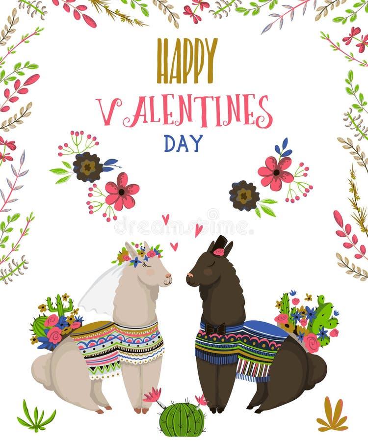 Coppie dolci dei lama nell'amore Personaggi dei cartoni animati svegli Giorno felice del `s del biglietto di S Concetto di proget illustrazione vettoriale