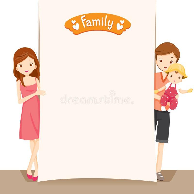 Coppie e bambino con il segno in bianco illustrazione vettoriale