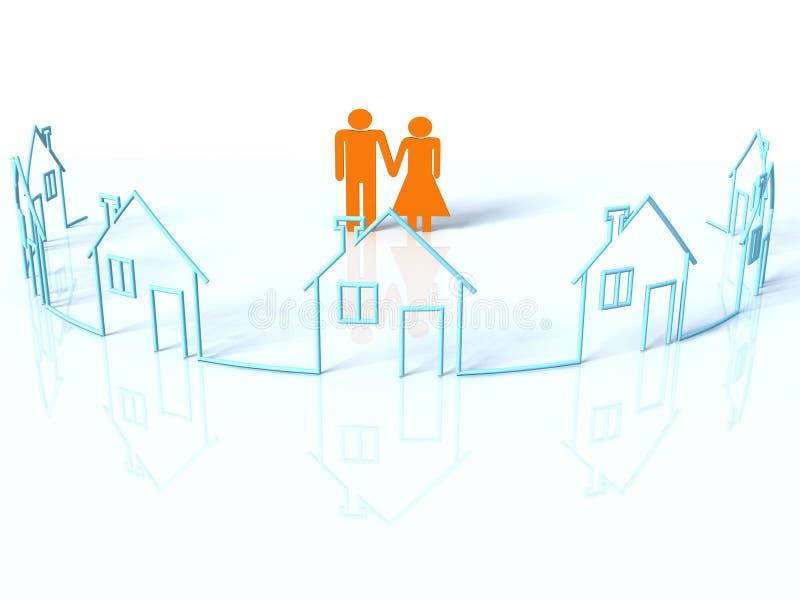 Coppie e case illustrazione di stock