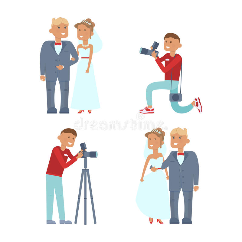 Coppie e fotografo di nozze illustrazione vettoriale