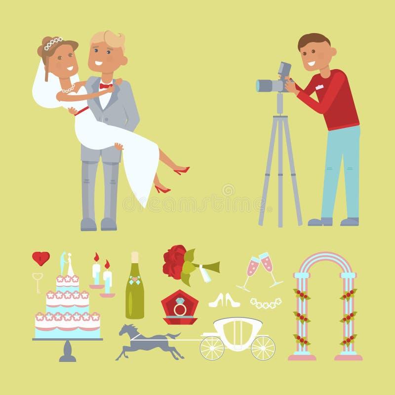 Coppie e fotografo di nozze royalty illustrazione gratis