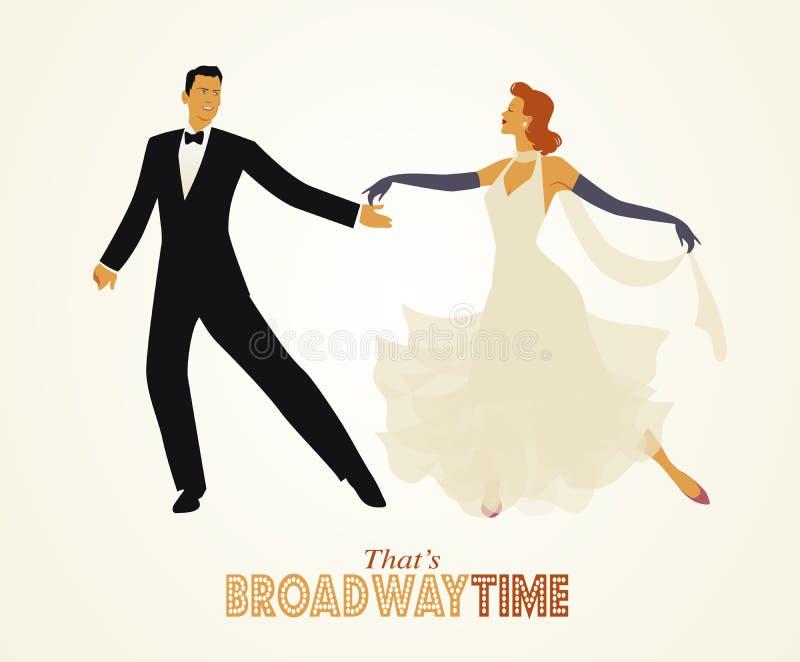 Coppie eleganti che ballano retro stile royalty illustrazione gratis