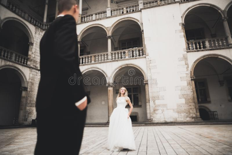 Coppie felici adorabili di nozze, sposa con il vestito bianco lungo fotografia stock