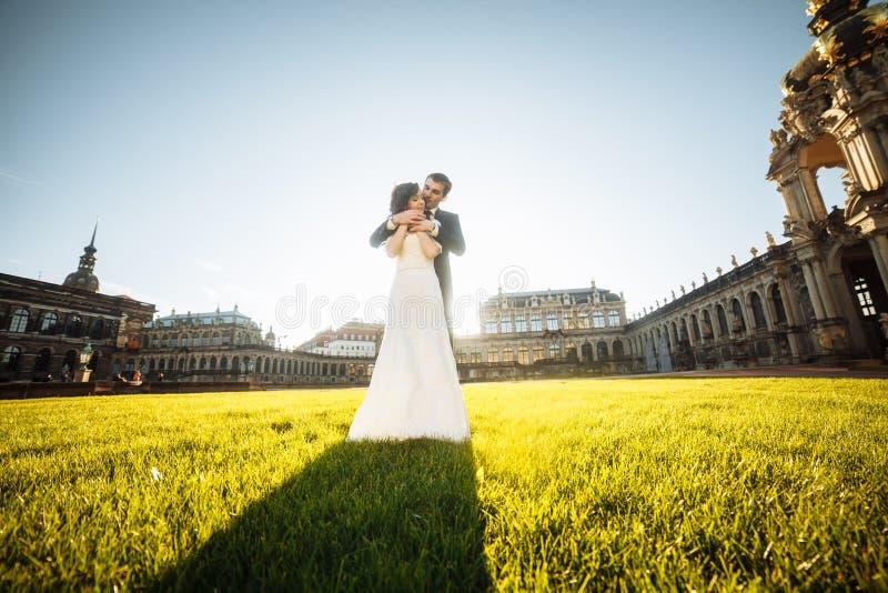 Coppie felici alla moda di nozze castello di bella rinascita del fondo sul vecchio Sposo e sposa romantici della persona appena s fotografia stock libera da diritti