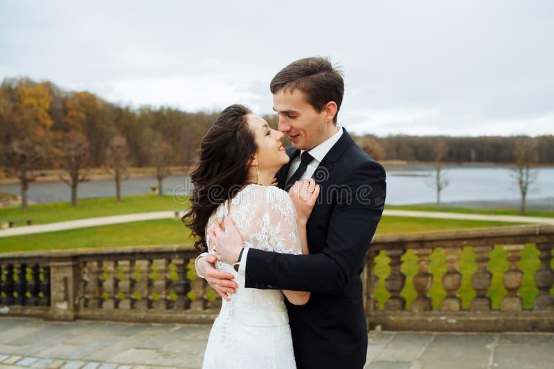 Coppie felici alla moda di nozze castello di bella rinascita del fondo sul vecchio Sposo e sposa romantici della persona appena s fotografia stock