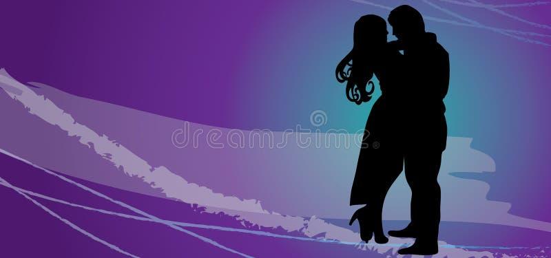 Coppie felici amorose Siluetta di vettore - coppie nell'amore ENV illustrazione di stock