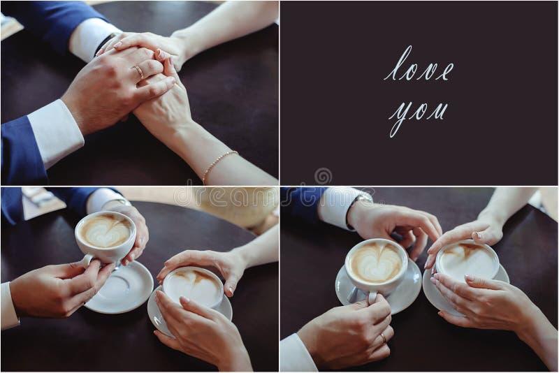 Coppie felici in caffè bevente di amore immagine stock libera da diritti