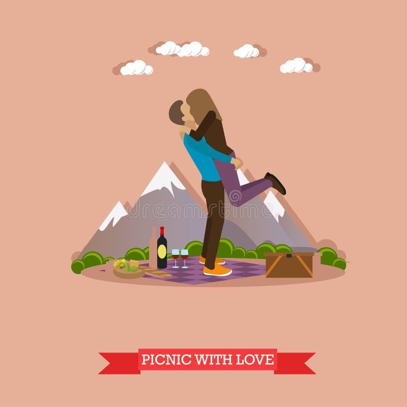 Coppie felici che hanno picnic in un parco Vector l'illustrazione degli elementi di progettazione di massima della ricreazione de illustrazione vettoriale