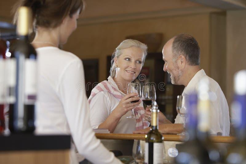 Coppie felici che tostano vino rosso fotografia stock