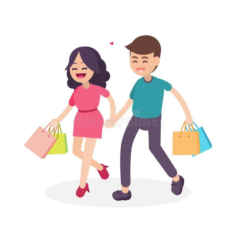 Coppie felici con i sacchetti della spesa variopinti, camminanti insieme Vect royalty illustrazione gratis