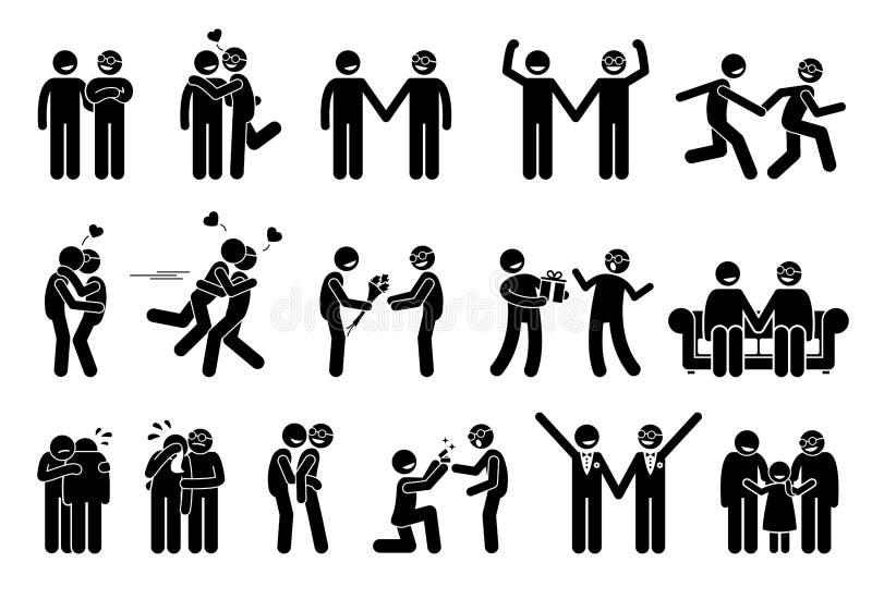 Coppie felici degli omosessuali illustrazione di stock