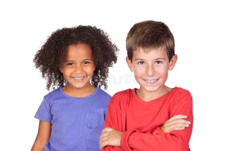 Coppie felici dei bambini fotografie stock libere da diritti
