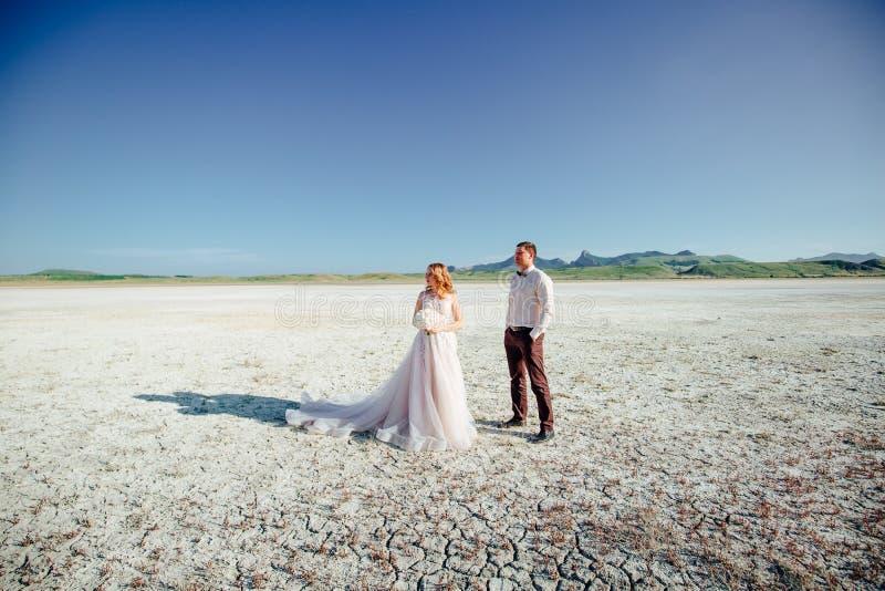 Coppie felici del newlywed Bei sposa e sposo in un vestito immagini stock
