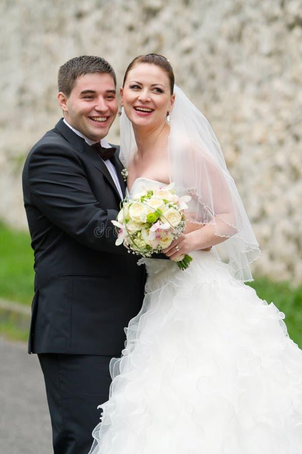 Coppie felici di nozze fotografie stock libere da diritti