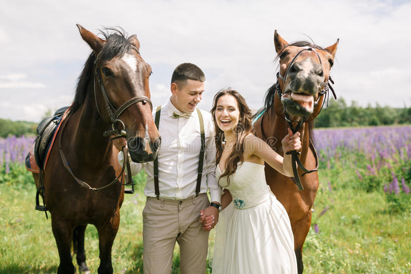Coppie felici di nozze con i cavalli fotografia stock libera da diritti
