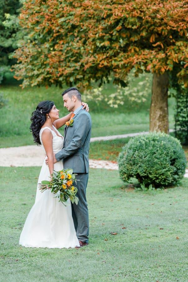 Coppie felici di nozze nel parco immagini stock