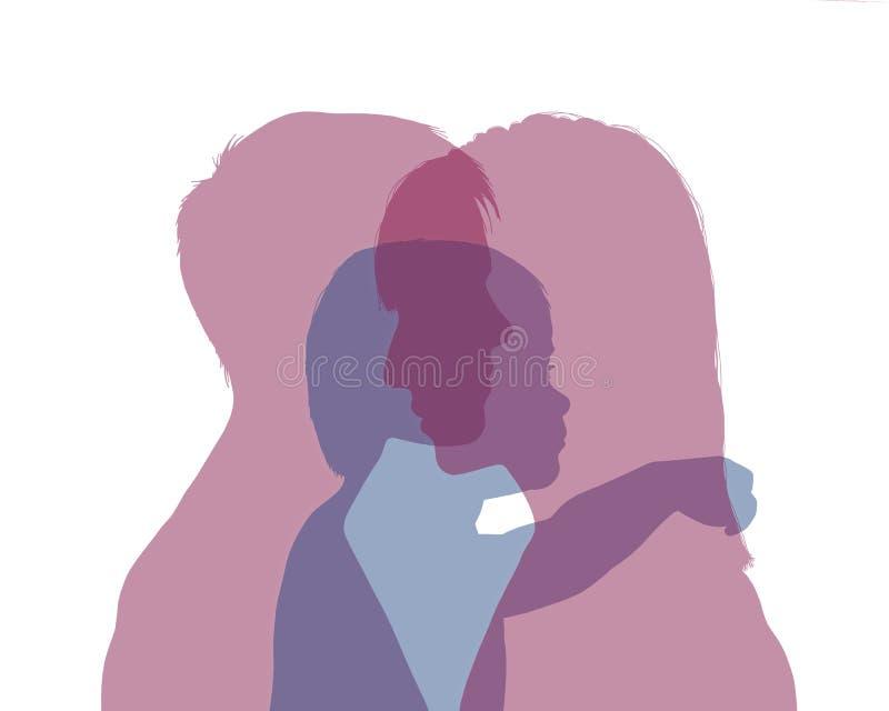 Coppie femminili omosessuali e la loro siluetta variopinta del bambino fotografia stock