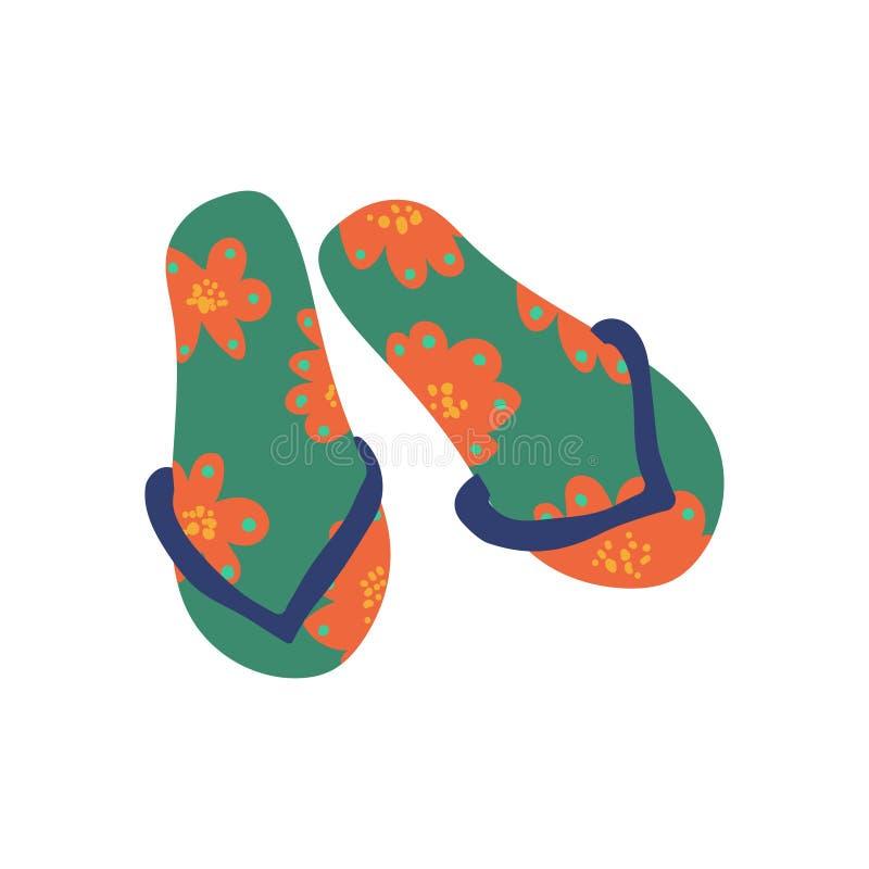 Coppie Flip Flops, illustrazione di vettore di simbolo di viaggio di estate illustrazione vettoriale