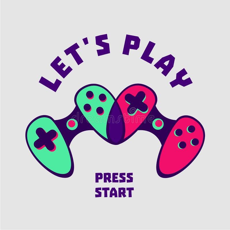 Coppie in forma di cuore del gamepad Segno del Gamer Video giochi di amore Stile piano illustrazione vettoriale