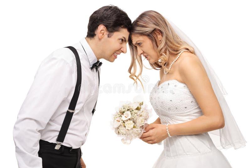 Coppie furiose della persona appena sposata che spingono le loro teste faccia a faccia immagine stock libera da diritti