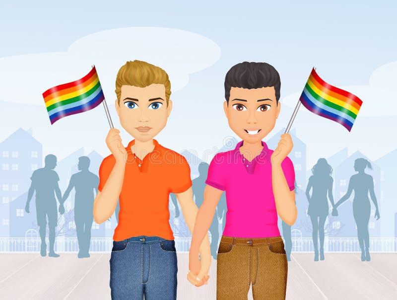 Coppie gay al gay pride illustrazione vettoriale