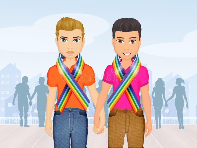 Coppie gay al gay pride illustrazione di stock