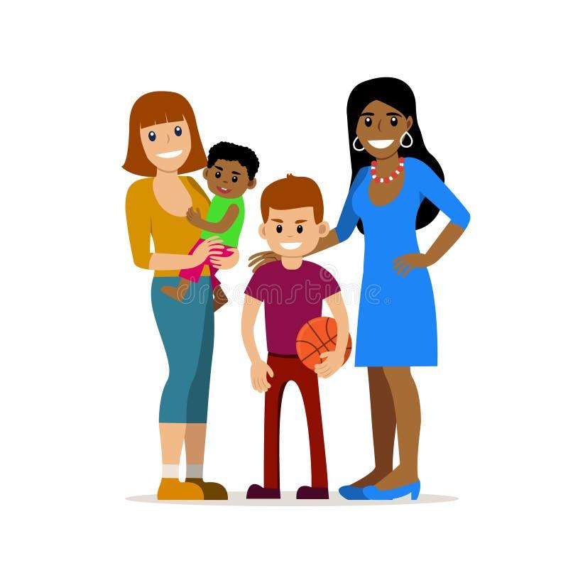 Coppie gay con i bambini illustrazione vettoriale