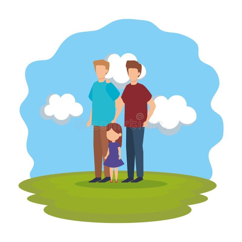 Coppie gay con la figlia nel parco illustrazione di stock