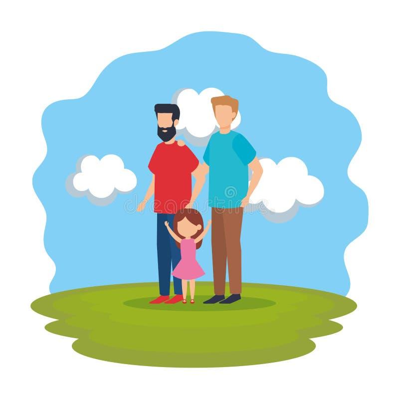 Coppie gay con la figlia nel parco illustrazione vettoriale