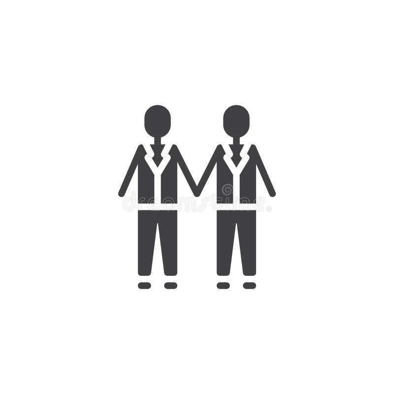 Coppie gay di nozze che si tengono per mano l'icona di vettore illustrazione vettoriale