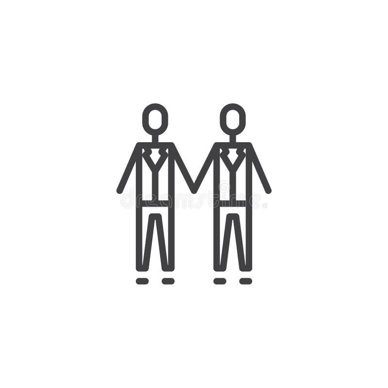 Coppie gay di nozze che si tengono per mano linea icona illustrazione di stock