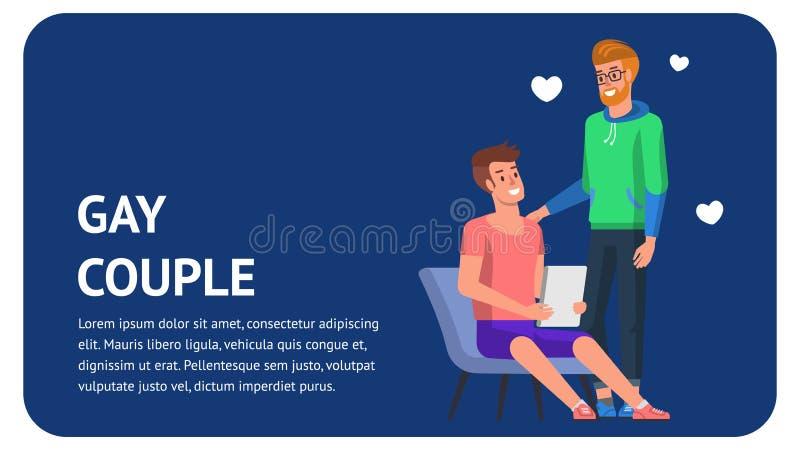 Coppie gay felici insieme Atterraggio piano con il cuore royalty illustrazione gratis