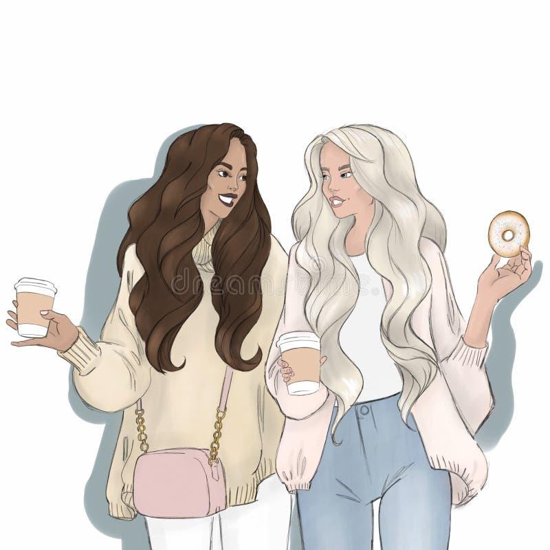 Coppie gay femminili Coniugi lesbici omosessuali LGBT illustrazione di stock