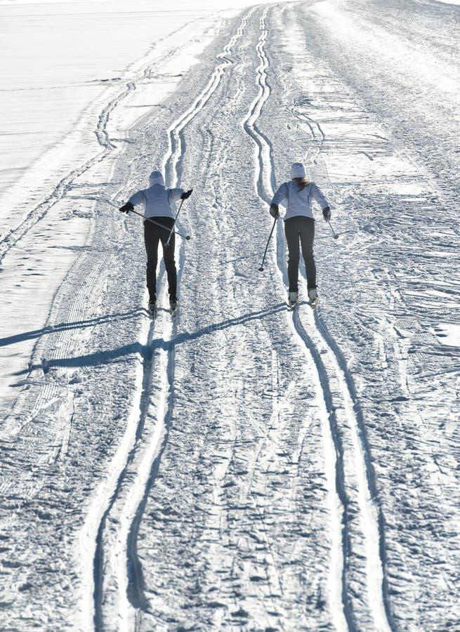 Coppie gli sciatori che attraversano il pæse fotografia stock