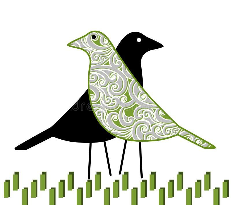 Coppie graziose dell'uccello nell'erba royalty illustrazione gratis