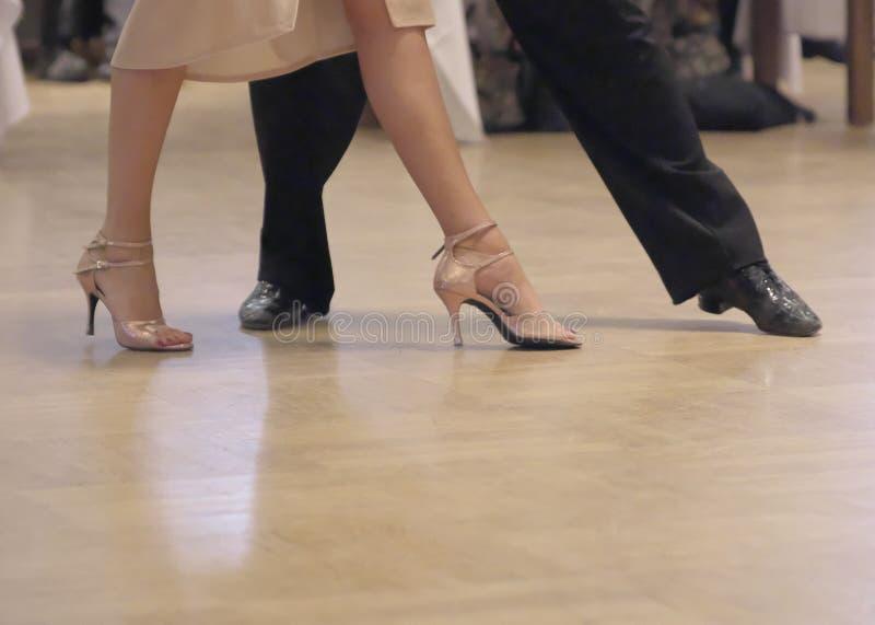 Coppie graziose di ballo che tangoing alla sala da ballo fotografia stock libera da diritti