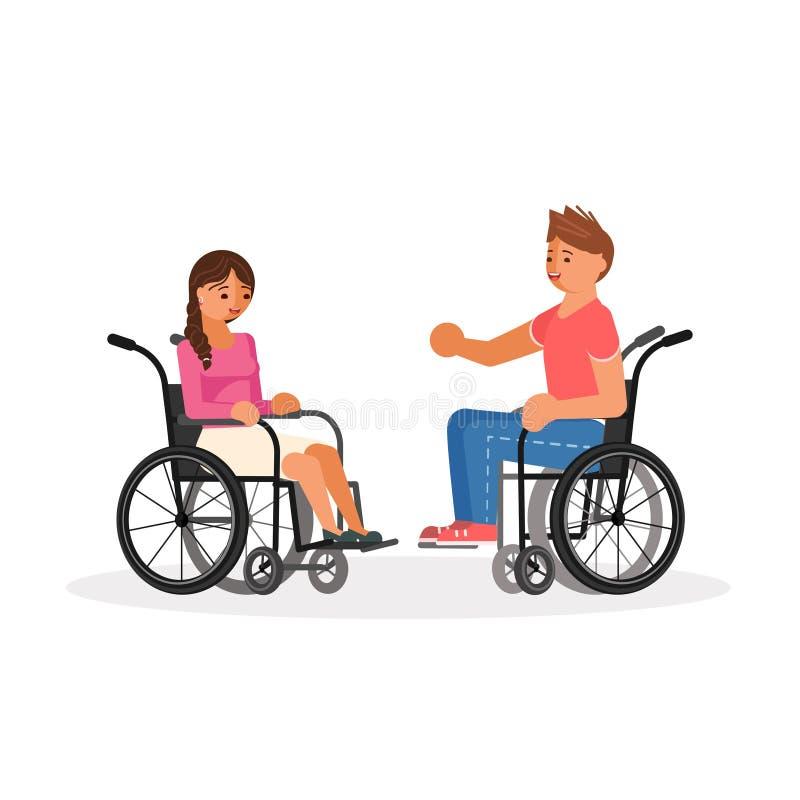 Coppie i disabili della sedia a rotelle illustrazione vettoriale