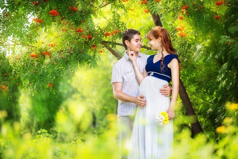 Coppie incinte dei giovani e felici che abbracciano nel parco Vaca di estate immagini stock libere da diritti