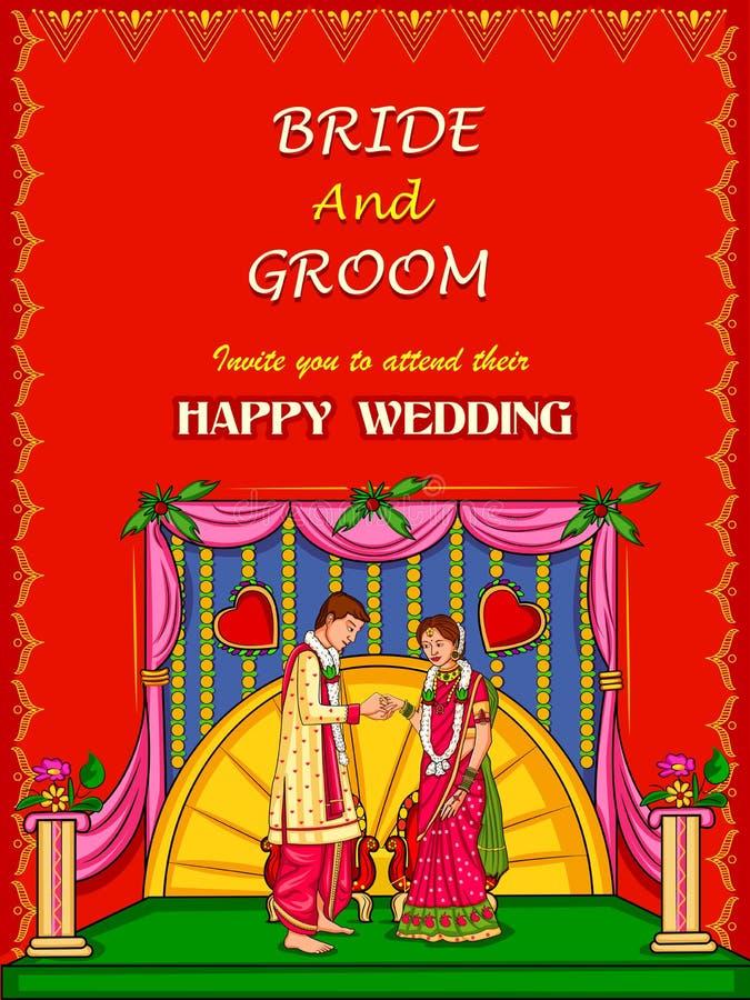 Coppie indiane nella cerimonia di impegno di nozze dell'India illustrazione di stock