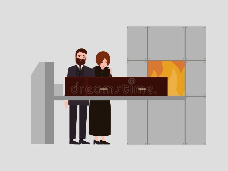Coppie l'uomo doloroso e la donna vestiti in vestiti di dolore neri che stanno vicino alla bara in crematorio e nel gridare illustrazione di stock