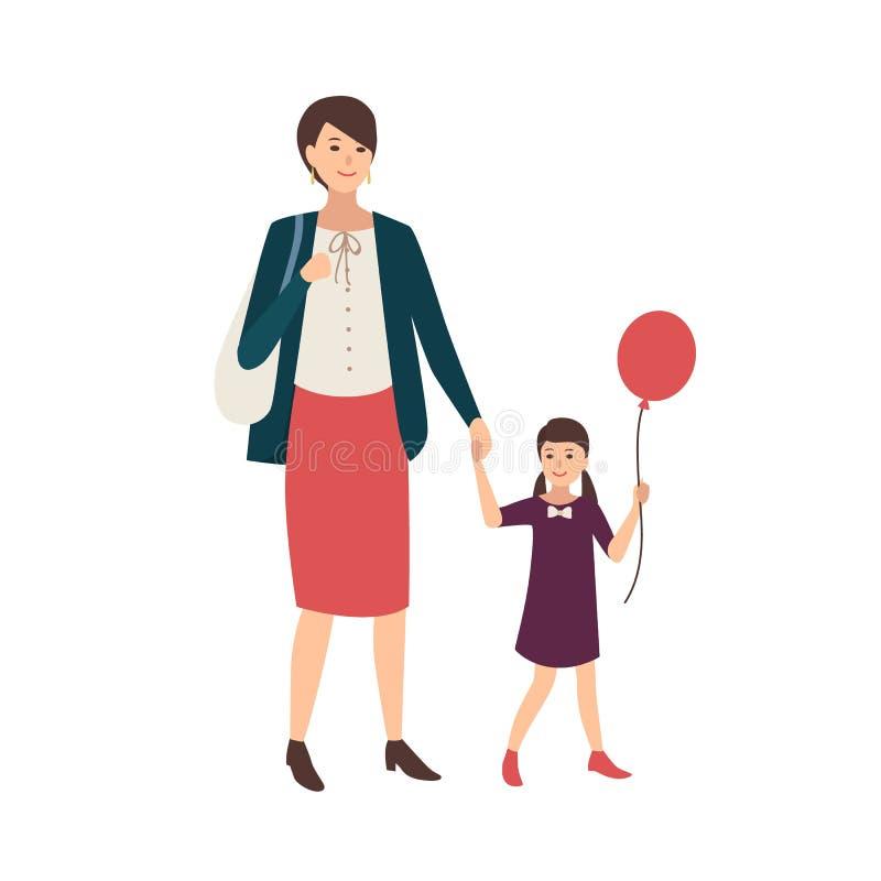 Coppie la madre e la figlia che si tengono per mano e che camminano Donna e bambina con il pallone Bello fumetto femminile illustrazione di stock