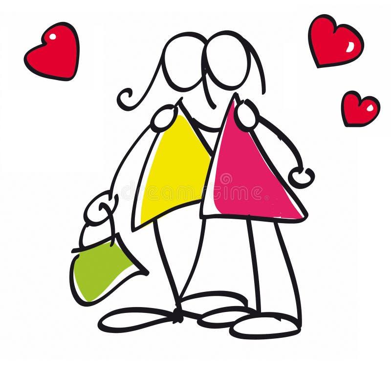 Coppie lesbiche royalty illustrazione gratis