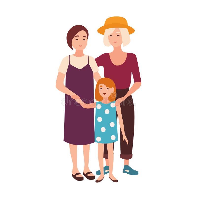Coppie lesbiche che stanno con la figlia Coppie le giovani donne felici ed il loro bambino Famiglia omosessuale moderna Pianament illustrazione di stock