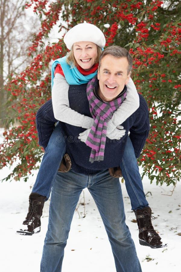 Coppie maggiori all'esterno nel paesaggio dello Snowy fotografia stock