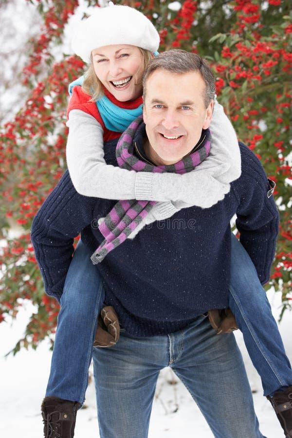 Coppie maggiori all'esterno nel paesaggio dello Snowy fotografie stock