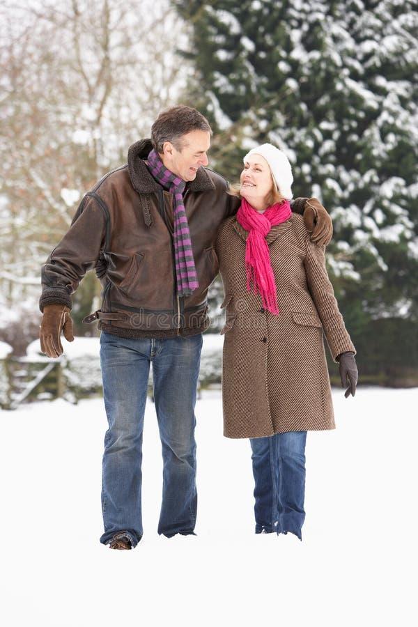 Coppie maggiori che camminano nel paesaggio dello Snowy immagine stock libera da diritti