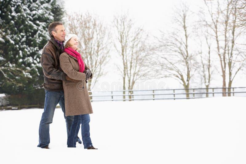 Coppie maggiori che camminano nel paesaggio dello Snowy fotografia stock libera da diritti