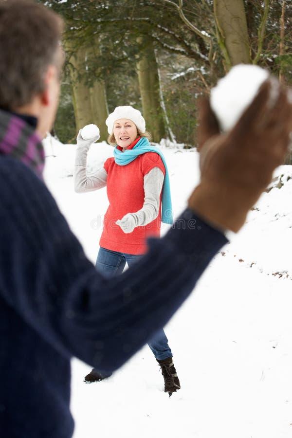 Coppie maggiori che hanno lotta della palla di neve in neve fotografia stock libera da diritti